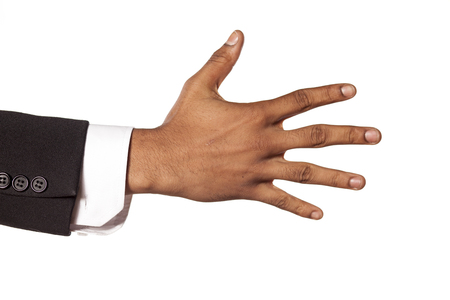 african american male: dark skinned hand in a suit with a spread fingers