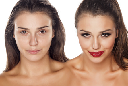 Comparison portrait of a woman without and with makeup Stok Fotoğraf - 58591270