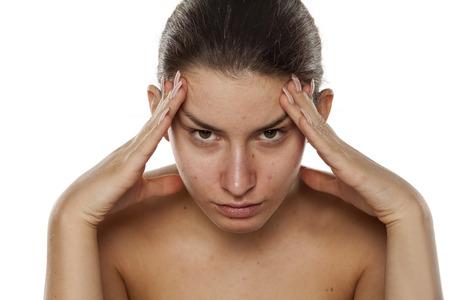 beautifull: Young beautifull woman having a headache