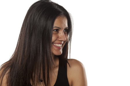 cuban: Smiling young dark-skinned pretty woman without makeup Stock Photo