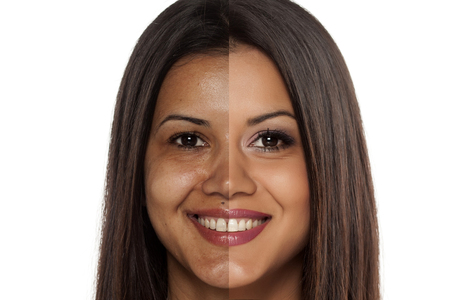 cuban women: Comparison portrait of an exotic beautiful woman without and with makeup