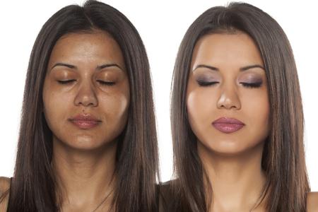 mujeres morenas: retrato comparación de una hermosa mujer exótica con y sin maquillaje