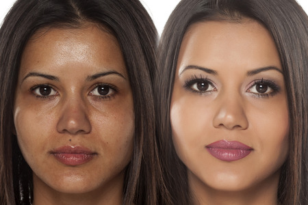 Comparison portrait of an exotic beautiful woman without and with makeup