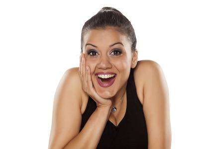 mujeres morenas: muy feliz mujer joven hermosa piel oscura Foto de archivo