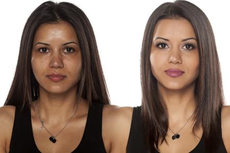 female head: retrato comparación de una hermosa mujer exótica con y sin maquillaje