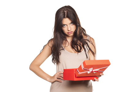 pretty girl is not satisfied with her gift