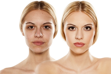 comparison portrait of a woman with and without makeup Stock Photo