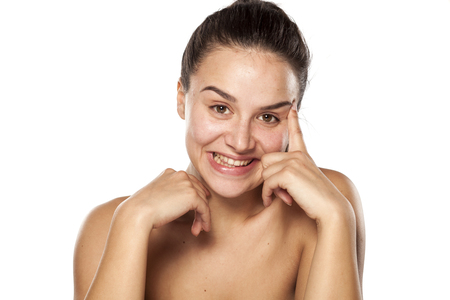 remembering: young woman without makeup remembering something beautiful Stock Photo