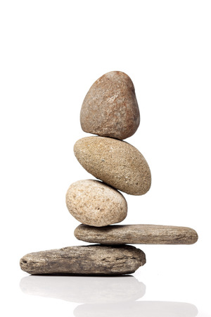 Balanced stack of different river stones Stock Photo