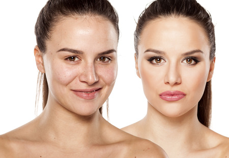 Female face without and with makeup
