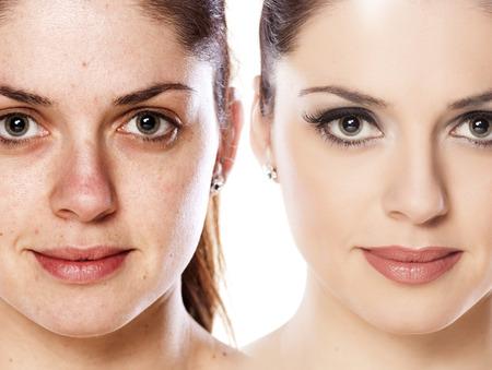 Vergelijkingsportret van een vrouw zonder en met make-up