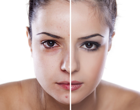 photoshop: womans face before and after makeup and photoshop editing