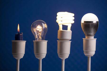 キャンドル、タングステン、蛍光灯照明、LED の進歩