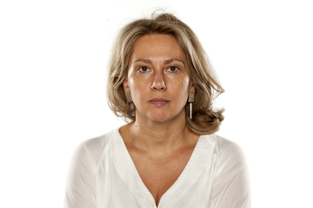 Portrait of beautiful middle-aged woman with no makeup Stock Photo
