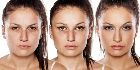 retouch: Woman without , with wrong makeup and with right makeup Stock Photo