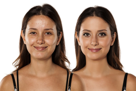 comparative portrait of the same woman, with and without makeup