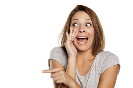 woman who mocks and gossip Stock Photo