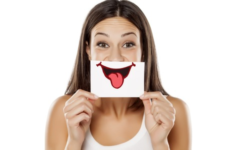 woman smile: Happy young woman with smile, drawn on sheet of paper Stock Photo