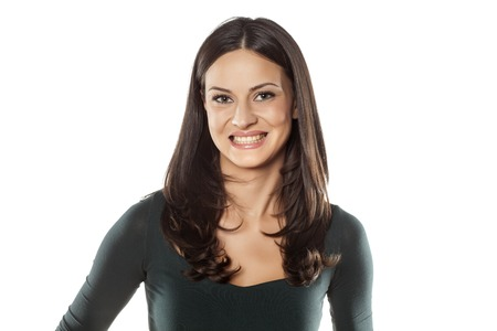 beautiful young woman with fake smile