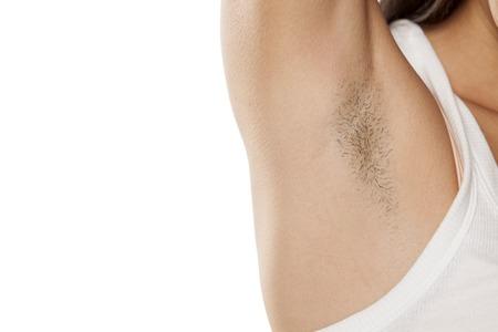 female unshaved armpit