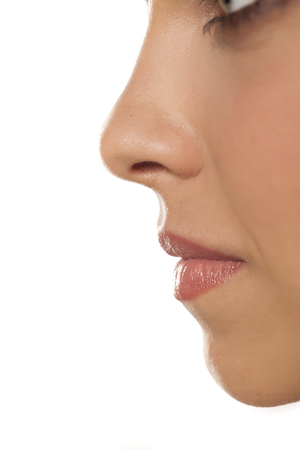 Close up of a womans nose and mouth Zdjęcie Seryjne