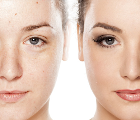 Comparison portrait of a woman without and with makeup