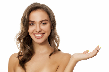 young beautiful woman advertise imaginary product
