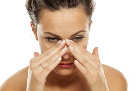 若い女性は、副鼻腔の痛み 写真素材