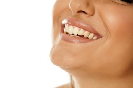 a womans smile with pretty white teeth Zdjęcie Seryjne