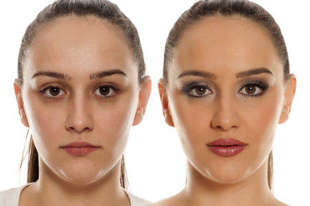 comparing female face without and with makeup on white background Foto de archivo