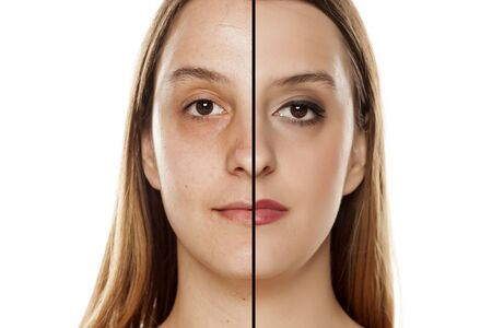 Comparison portrait of a woman without and with makeup Stock Photo