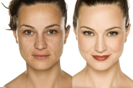 Comparison portrait of woman without and with makeup. Makeover concept. Banque d'images