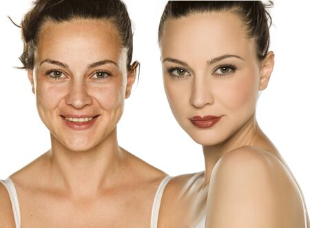 Comparison portrait of woman without and with makeup. Makeover concept.