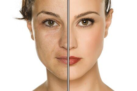 Vergleichsportrait der Frau ohne und mit Make-up. Makeover-Konzept.