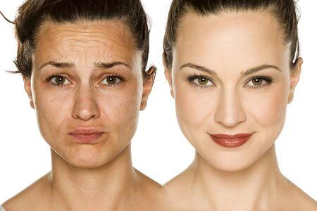 Comparación retrato de mujer sin y con maquillaje. Concepto de cambio de imagen.