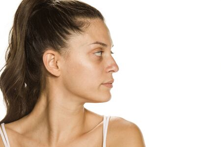 Profile of bautiful young woman without makeup on white background Stok Fotoğraf