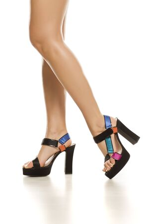 Summer sandals with high heeal on white background Stockfoto