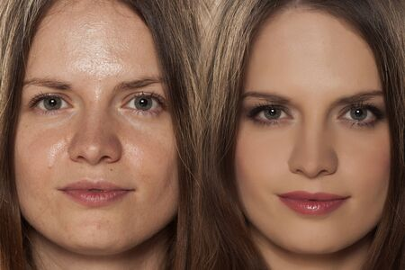 comparative portrait of women with and without makeup Standard-Bild