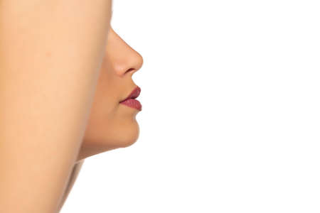 closeup profile, nose and mouth of young beautiful woman on white background