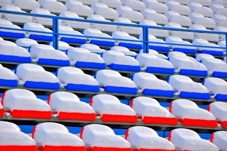 Rows of chairs the ice stadium photo