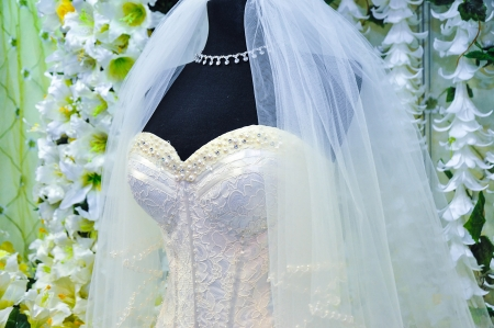 Detail of wedding dress Stock Photo