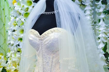 Detail of wedding dress Stock Photo