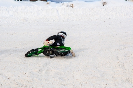 Winter Motocross competitions among children Stock Photo - 18468826