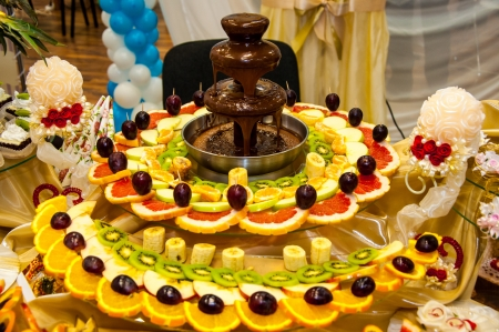 Chocolate fountain and fruit dessert Stock Photo