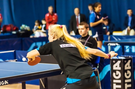 Table tennis competition among girls