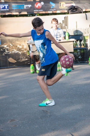 The city of Orenburg, Orenburg oblast, Russia, August 16, 2013. Interregional outdoor youth cultural and Sports Festival, Street Life 2013. Football Freestyle competitions