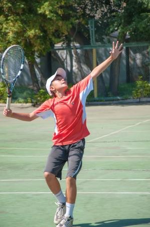The city of Orenburg, Orenburg oblast, Russia, August 16, 2013. The summer Championship of the Orenburg region on tennis among teenagers. Editorial
