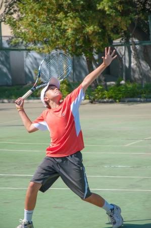 The city of Orenburg, Orenburg oblast, Russia, August 16, 2013. The summer Championship of the Orenburg region on tennis among teenagers. Editoriali