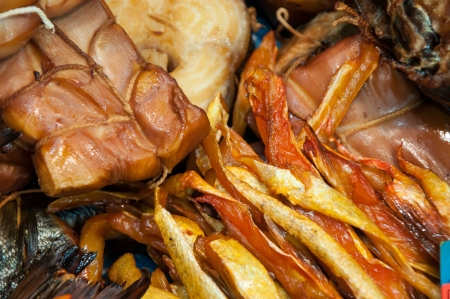 Fish assortment of smoked delicacies photo