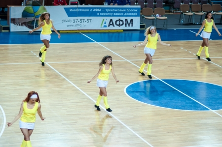 Girl cheerleading from the support team your favorite\ basketball team, city of Orenburg, Southern Ural, Russia\
